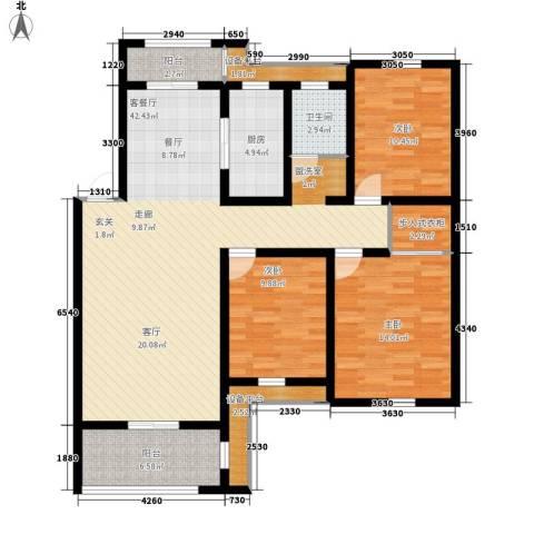 新新家园3室1厅1卫1厨117.00㎡户型图