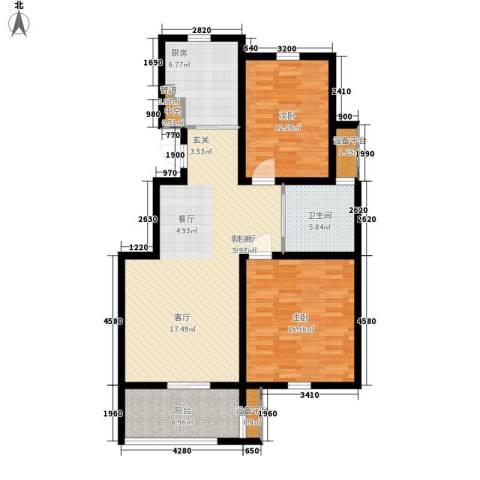 新新家园2室1厅1卫1厨95.00㎡户型图