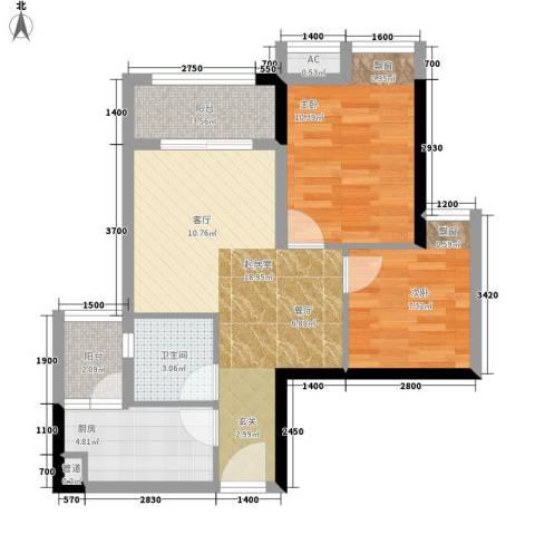 极鼎城市经典2室0厅1卫1厨57.00㎡户型图