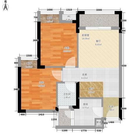 极鼎城市经典2室0厅1卫1厨56.00㎡户型图