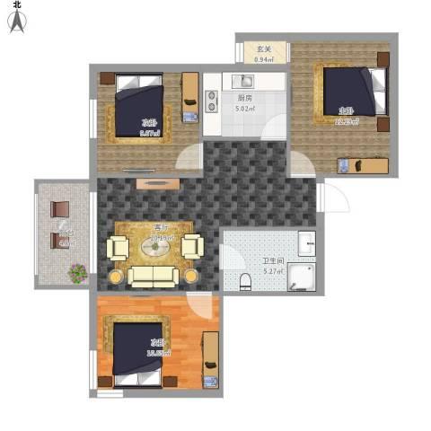 航天社区3室1厅1卫1厨96.00㎡户型图