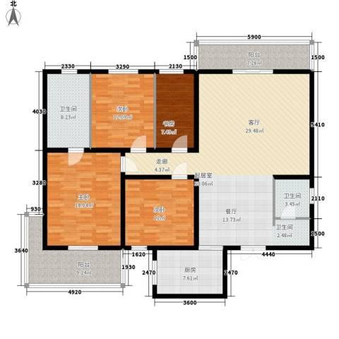 海威大厦4室0厅2卫1厨156.00㎡户型图