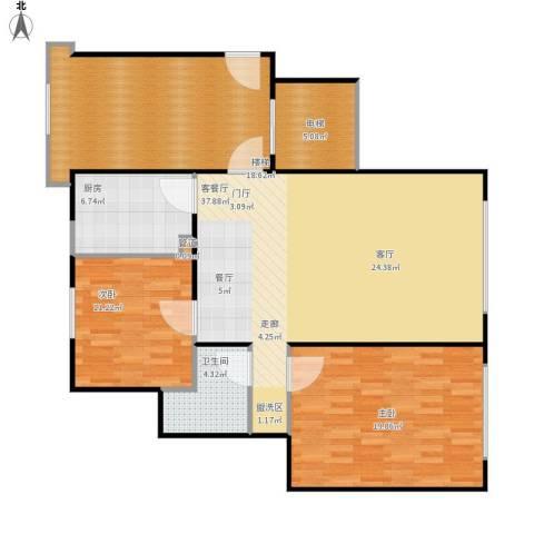 北京城建·世华龙樾2室1厅1卫1厨138.00㎡户型图