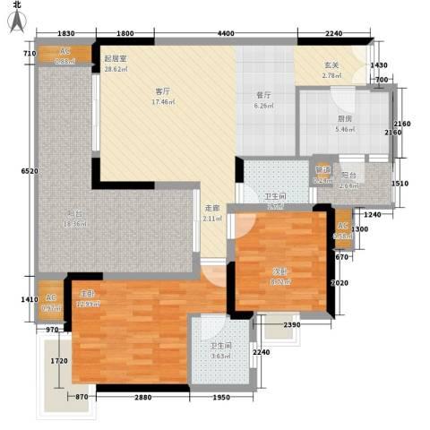 欧鹏K城2室0厅2卫1厨124.00㎡户型图
