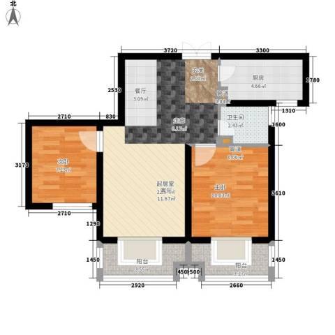 左岸春天2室0厅1卫1厨77.00㎡户型图