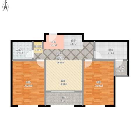 中海金石公馆2室1厅1卫1厨101.00㎡户型图