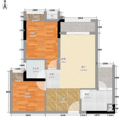极鼎城市经典2室0厅1卫1厨59.00㎡户型图
