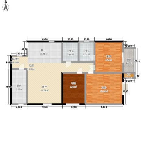 贝特智能佳园3室1厅2卫1厨142.00㎡户型图