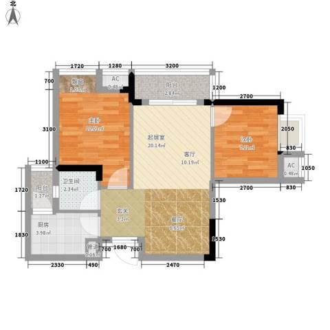 极鼎城市经典2室0厅1卫1厨55.00㎡户型图