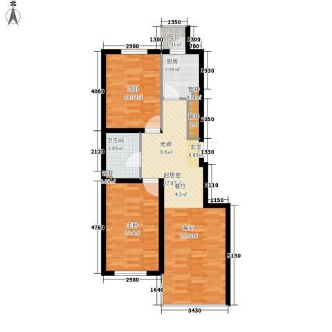 展轮新世界2室0厅1卫1厨88.00㎡户型图