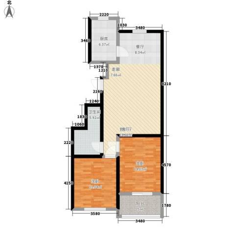 玉龙小区2室1厅1卫1厨84.00㎡户型图