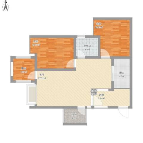 正升时代港湾2室1厅1卫1厨109.00㎡户型图