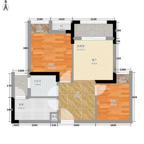 极鼎城市经典2室0厅1卫1厨53.00㎡户型图
