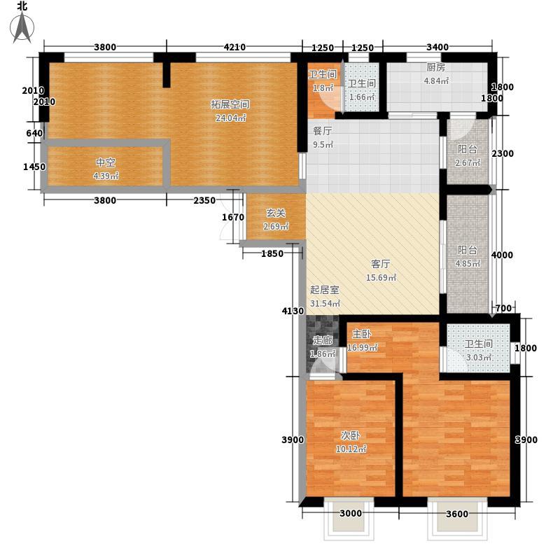 红星国际广场107.08㎡两位户型2室2厅