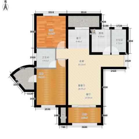 大众尚岭花园2室1厅2卫1厨112.00㎡户型图