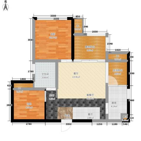 枫丹树语城2室1厅1卫1厨59.00㎡户型图