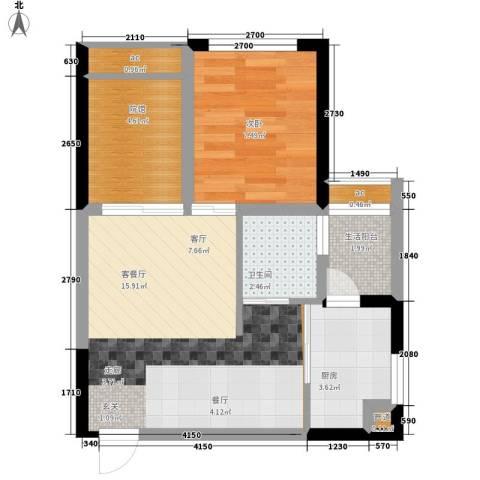 枫丹树语城1室1厅1卫1厨37.62㎡户型图
