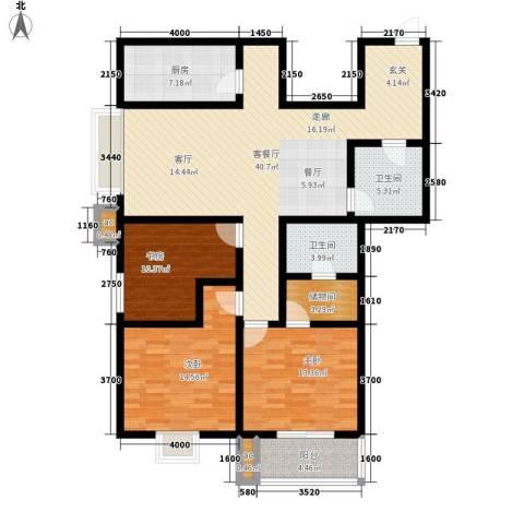 名流水晶宫3室1厅2卫1厨147.00㎡户型图