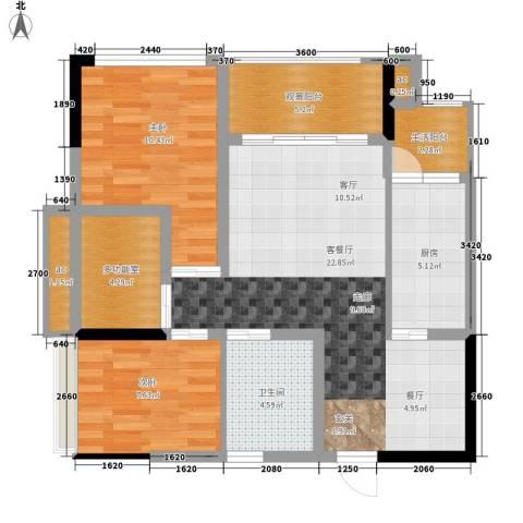 枫丹树语城2室1厅1卫1厨69.00㎡户型图