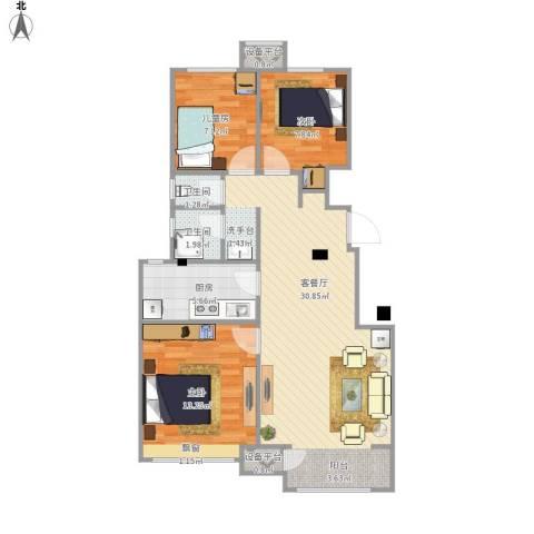 宝龙城3室1厅2卫1厨95.00㎡户型图