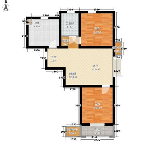 华城领秀2室1厅1卫1厨65.14㎡户型图