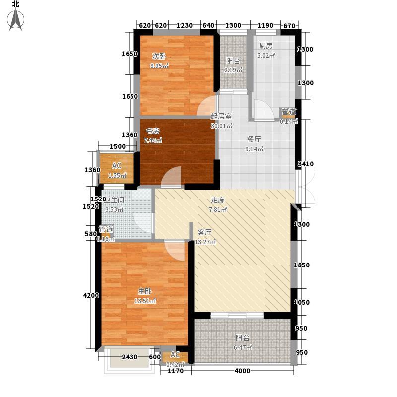 卧龙丽景湾109.00㎡d户型3室2厅