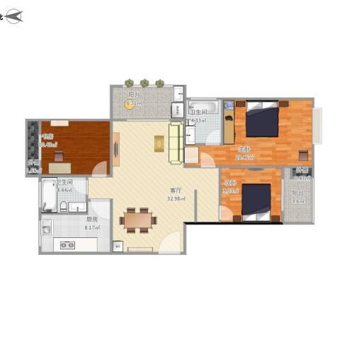 长河花园3室1厅2卫1厨136.00㎡户型图