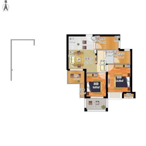 佳兆业1号2室1厅1卫1厨94.00㎡户型图