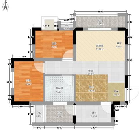光亮阳光佳苑2室0厅1卫1厨74.00㎡户型图