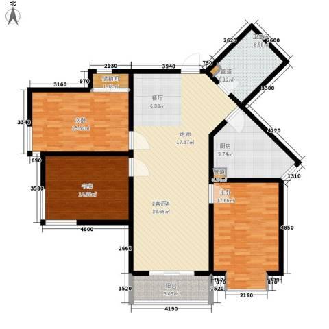顺美华庭3室0厅1卫1厨129.00㎡户型图