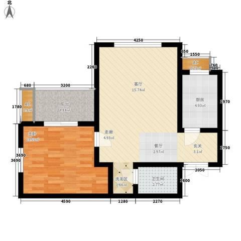 橄榄城1室0厅1卫1厨64.00㎡户型图