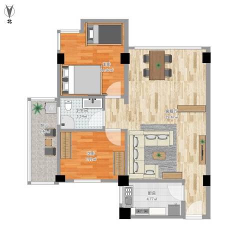 百花总汇2室1厅1卫1厨79.00㎡户型图