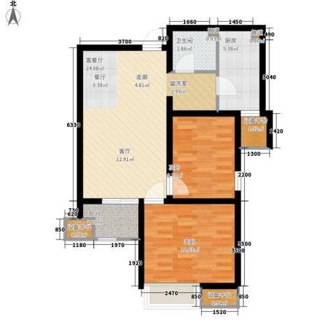 华城领秀2室1厅1卫1厨81.00㎡户型图