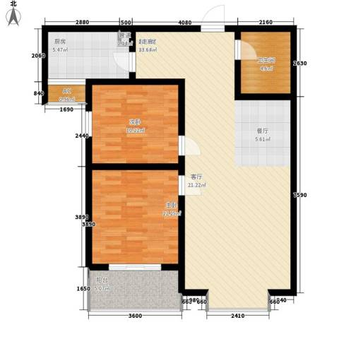 橄榄城2室0厅1卫1厨90.00㎡户型图