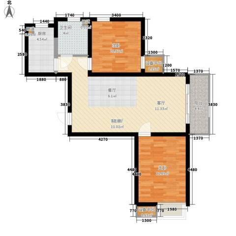 华城领秀2室1厅1卫1厨95.00㎡户型图