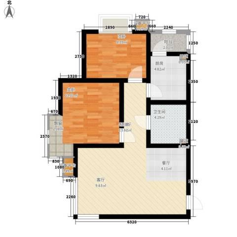 华城领秀2室1厅1卫1厨82.00㎡户型图