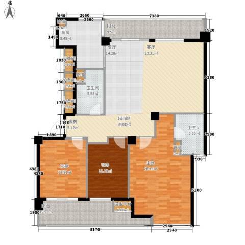 绿城慈园3室0厅2卫1厨153.00㎡户型图