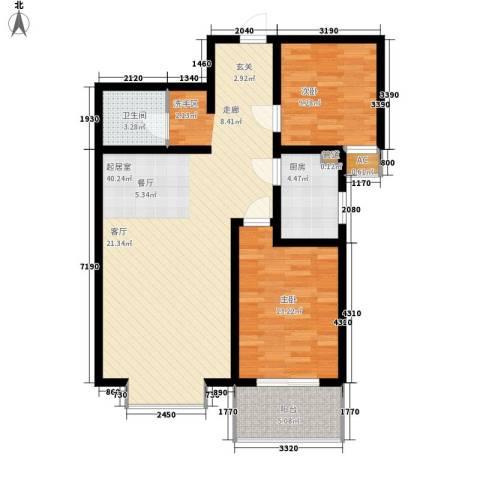 橄榄城2室0厅1卫1厨87.00㎡户型图