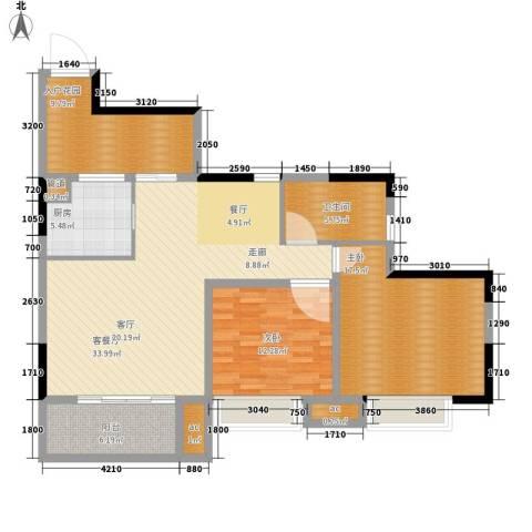 大众尚岭花园2室1厅1卫1厨100.00㎡户型图