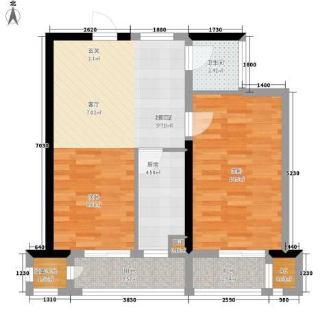 东方银座1室0厅1卫1厨70.00㎡户型图