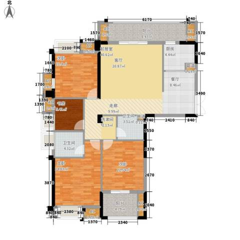 泰禾红树林4室0厅2卫1厨132.00㎡户型图