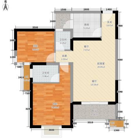 东江花园2室0厅2卫1厨98.00㎡户型图