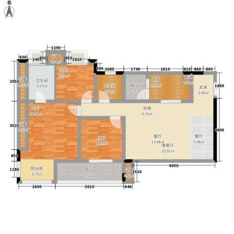 大众尚岭花园3室1厅2卫1厨150.00㎡户型图