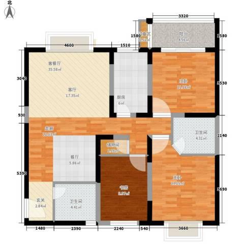 菁华名门3室1厅2卫1厨110.00㎡户型图