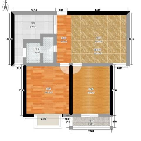 3507家属院2室1厅1卫1厨59.00㎡户型图