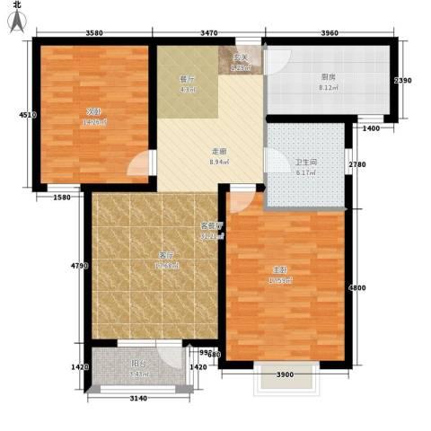 中铁四季公馆2室1厅1卫1厨92.00㎡户型图