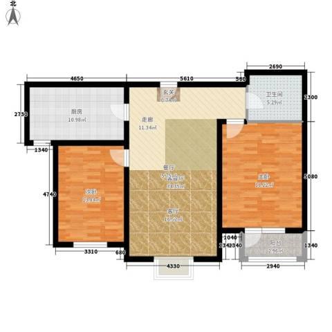 中铁四季公馆2室1厅1卫1厨96.00㎡户型图