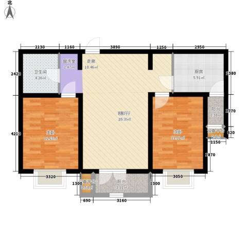 华城领秀2室1厅1卫1厨80.00㎡户型图