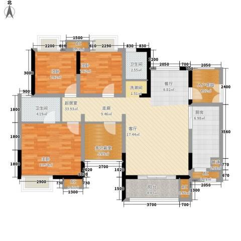 绿云国际纺织服装城3室0厅2卫1厨124.00㎡户型图