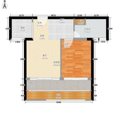 鸿坤理想海岸1室0厅1卫1厨74.00㎡户型图